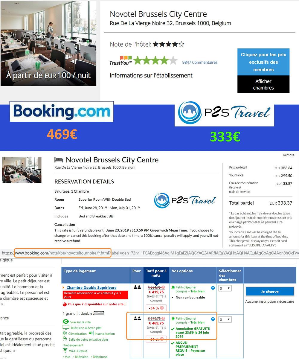 Hôtel Novotel Bruxelles centre à Bruxelles / Belgique - 1 chambre 3 nuits 2 adultes Tarif sur Booking 469€ - même chose sur P2S Travel 333€ soit 136€ d'économies en réservant sur le site réservation P2S Travel