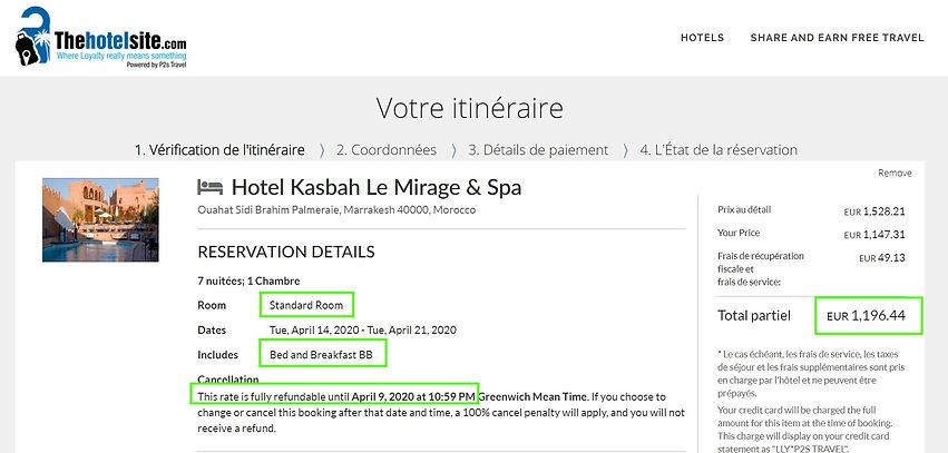 """réservation à l'hôtel """"Kasbah le Mirage & Spa"""" à Marrakech au Maroc - 1 chambre pour 2 personnes, 7 nuits, petit déjeuner compris, annulation gratuite.    Tarifs sur Hotels;com = 1729€  Tarif sur Thehotelsite = 1196€    Soit 31% de réduction.. et 533€ d'économies en réservant sur Thehotelsite!!"""