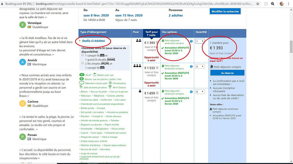 7 nuits pour 2 personnes à l'hôtel 3 étoiles Canella Beach Hotel à la Guadeloupe Tarif sur Booking = 1393€ Tarif sur P2S Travel = 772€  Soit 621€ moins cher sur le site de réservation privé P2S Travel