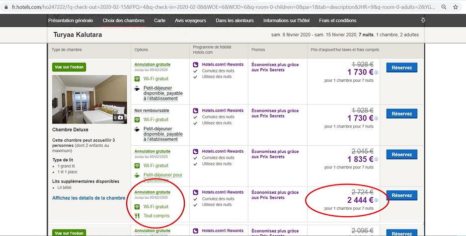 comparatif tarifs hôtels site réservation p2s travel