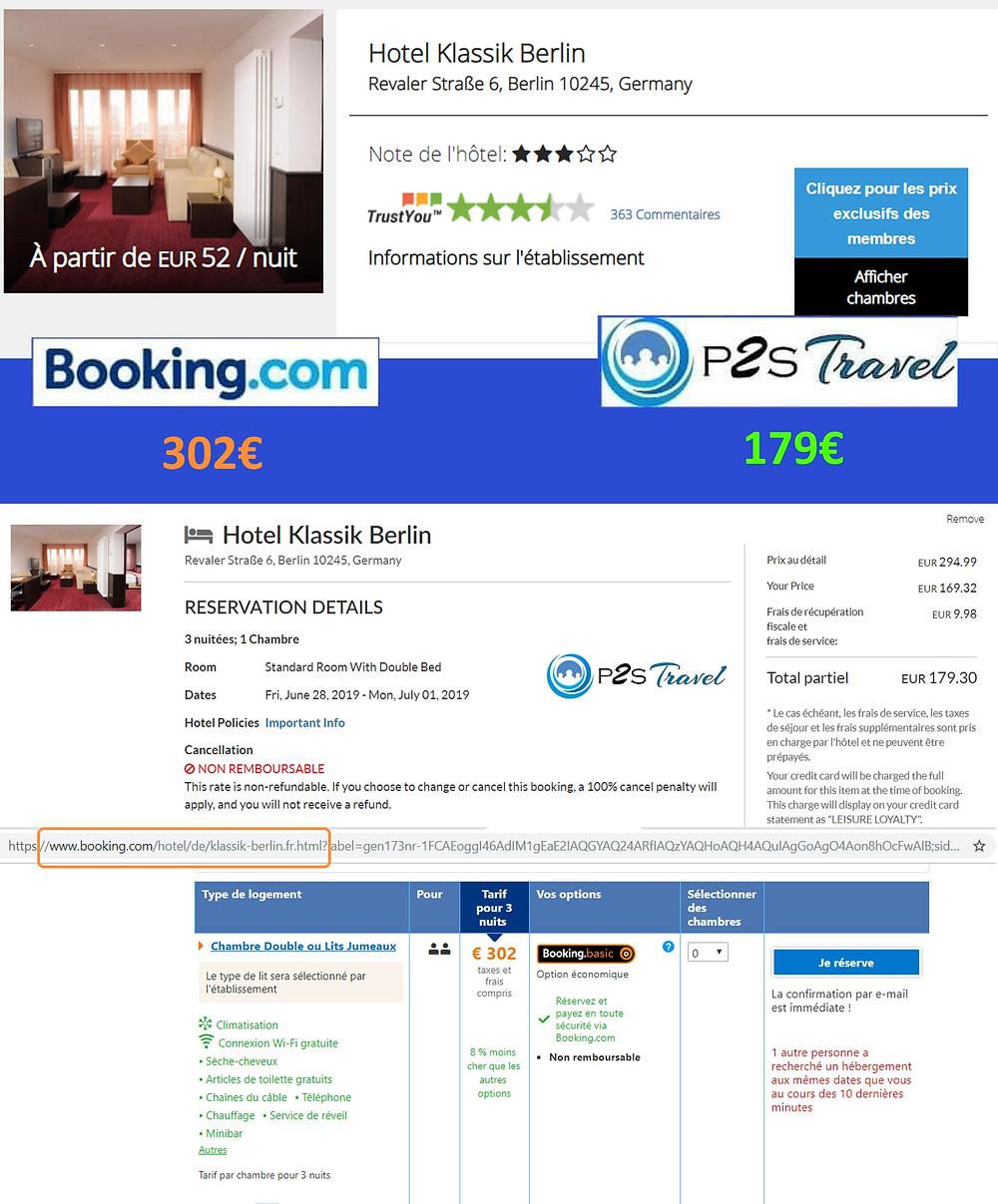 Hôtel Klassik Berlin à Berlin / Allemagne - 1 chambre 3 nuits 2 adultes Tarif sur Booking 302€ - même chose sur P2S Travel 179€ soit 123€ d'économies en réservant sur le site réservation P2S Travel