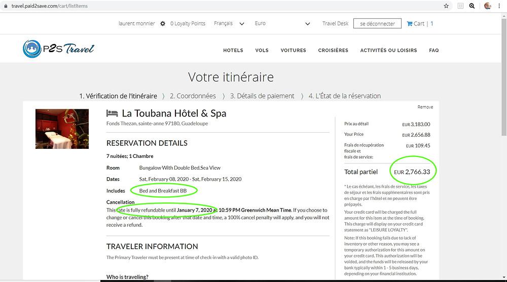 7 nuits pour 2 personnes à l'hôtel 4 étoiles La Toubana Hôtel & Spa  à la Guadeloupe petits déjeuners compris, annulation gratuite  Tarif sur Booking = 3518€  Tarif sur P2S Travel = 2766€  Soit 752€ moins cher sur le site de réservation privé P2S Travel