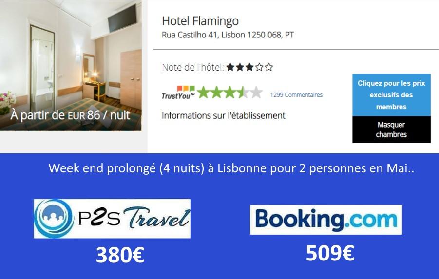 Hôtel Flamingo Lisbonne 4 nuits 2 personnes en mai.. Tarif sur Booking = 509€ Tarif sur P2S Travel = 380€ Economies 129€
