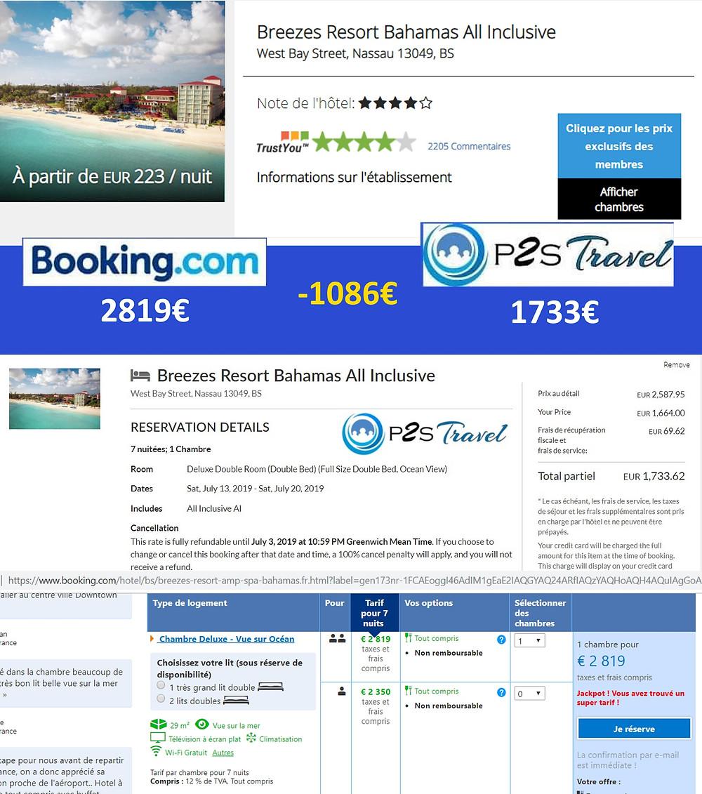 p2s travel tarifs hôtel Breeze resort Bahamas all inclusuve Vs booking