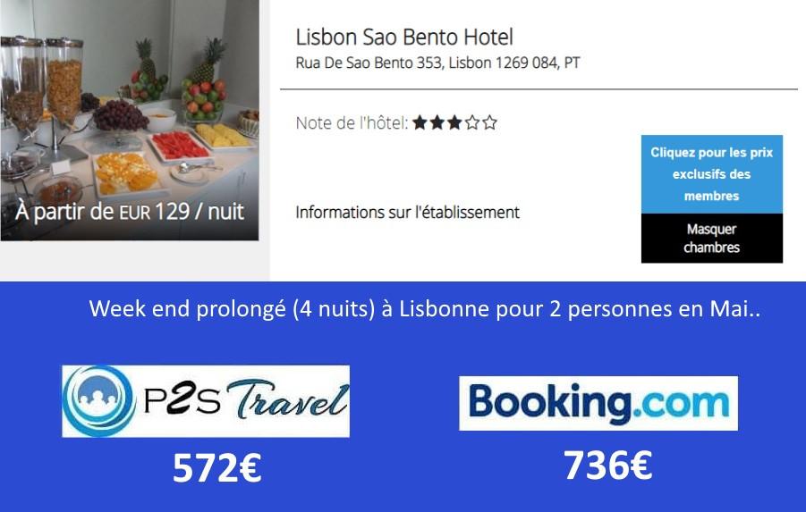 Hôtel Lisbon Sao Bento Lisbonne 4 nuits 2 personnes en mai.. Tarif sur Booking = 736€ Tarif sur P2S Travel = 572€ Economies 164€