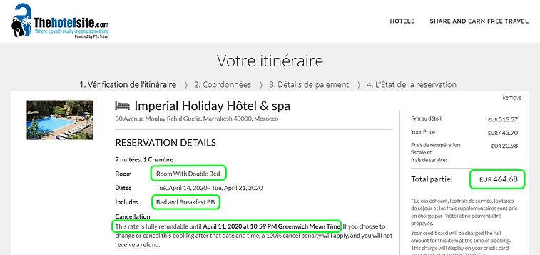 """hôtel """"Impérial Holiday & Spa"""" à Marrakech au Maroc - Réservation 1 chambre pour 2 personnes, 7 nuits, petit déjeuner compris, annulation gratuite.    Tarifs sur Hotels;com = 593€  Tarif sur Thehotelsite = 465€  Soit 22% moins cher.. et 127€ qui restent dans notre poche en réservant sur Thehotelsite."""
