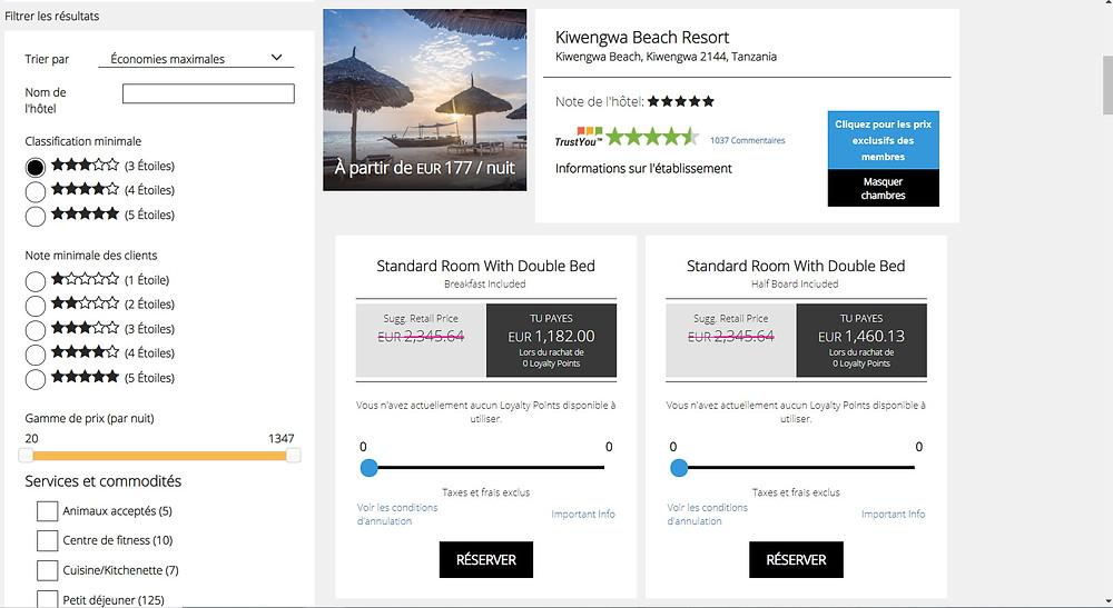 hôtel 5 étoiles Kiwenga Beach Resort 7 nuits pour 2 personnes, petit déj. inclus, annulable  Tarif sur Booking = 2312€ Tarif sur P2S Travel =    1232€ !!!  Soit 46% moins cher .. Economies réalisées en réservant sur la plateforme de réservation P2S Travel = 1080€ !!