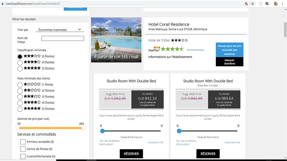 Hotel Corail Residence Martinique pas cher avec P2S Travel
