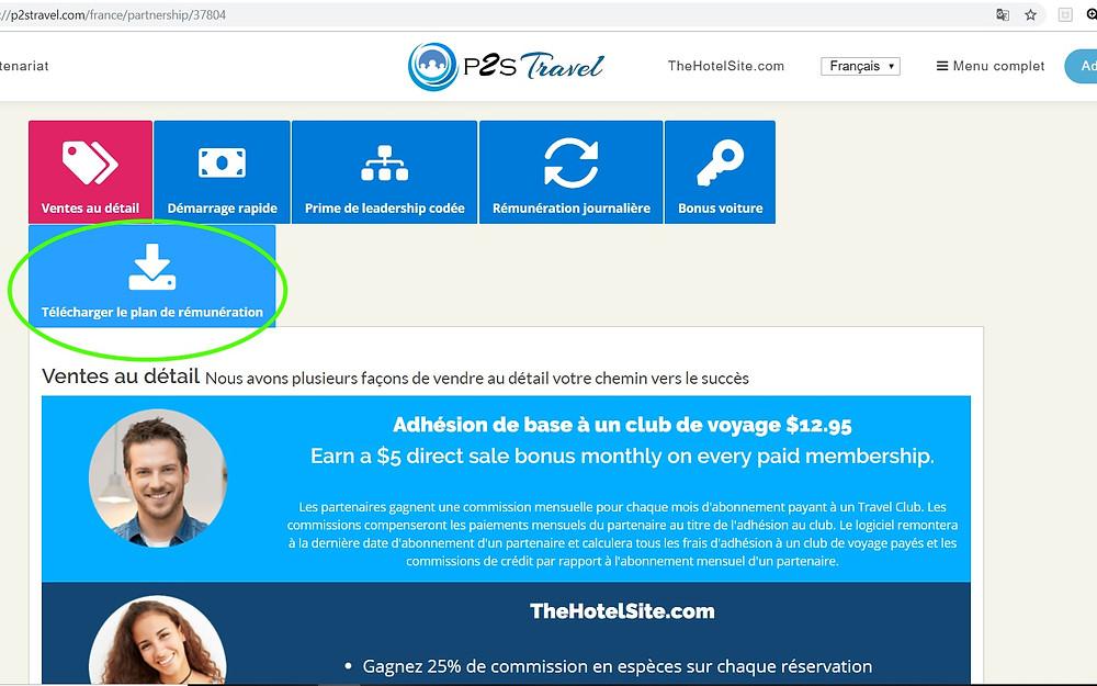 Plan de rémunération P2S Travel