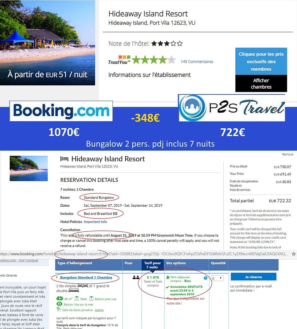 Hideaway Island Resort à Port Vila - Vanuatu - Bungalow 1 ch  7 nuits 2 adultes pdj inclus en septembre Tarif sur booking 1070€ - même chose sur P2S Travel 722€ soit 348€ d'économies en réservant sur la plateforme de réservation P2S Travel