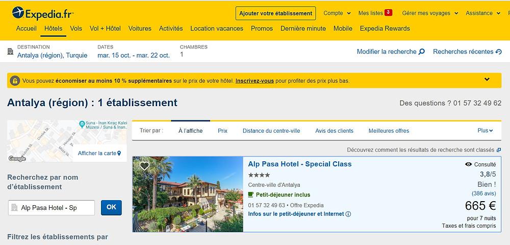 tarifs hôtels expedia