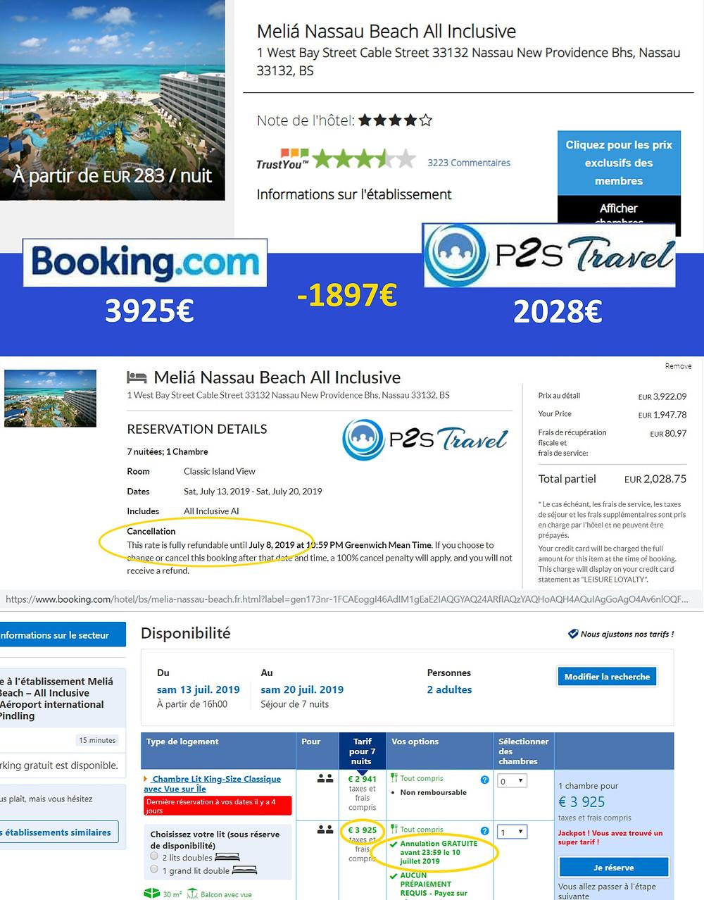 tarifs hôtel Melia Nassau Beach All Inclusive P2S Travel Vs Booking