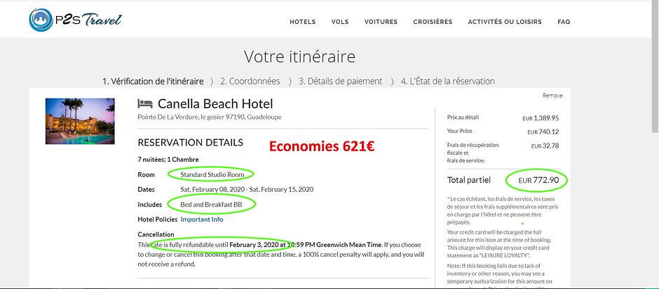 tarif canelle beach hotel p2s travel