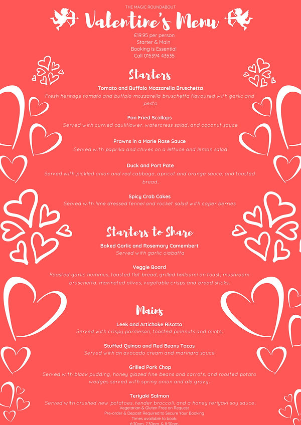 The Magic Roundabout's Valentine's Menu