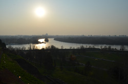 Sun setting over Novi Beograd