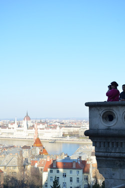 Tourists in Budapest