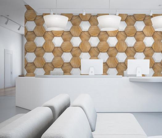 Wood Hexagon Abstract