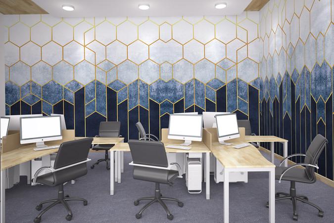 Navy Hexagon Mural