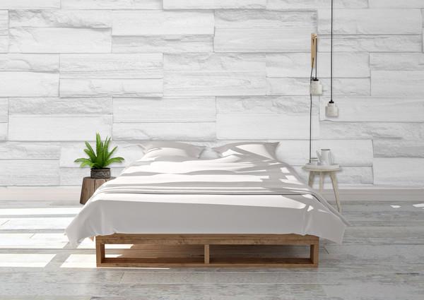 Item #1292 White Stone Wallpaper