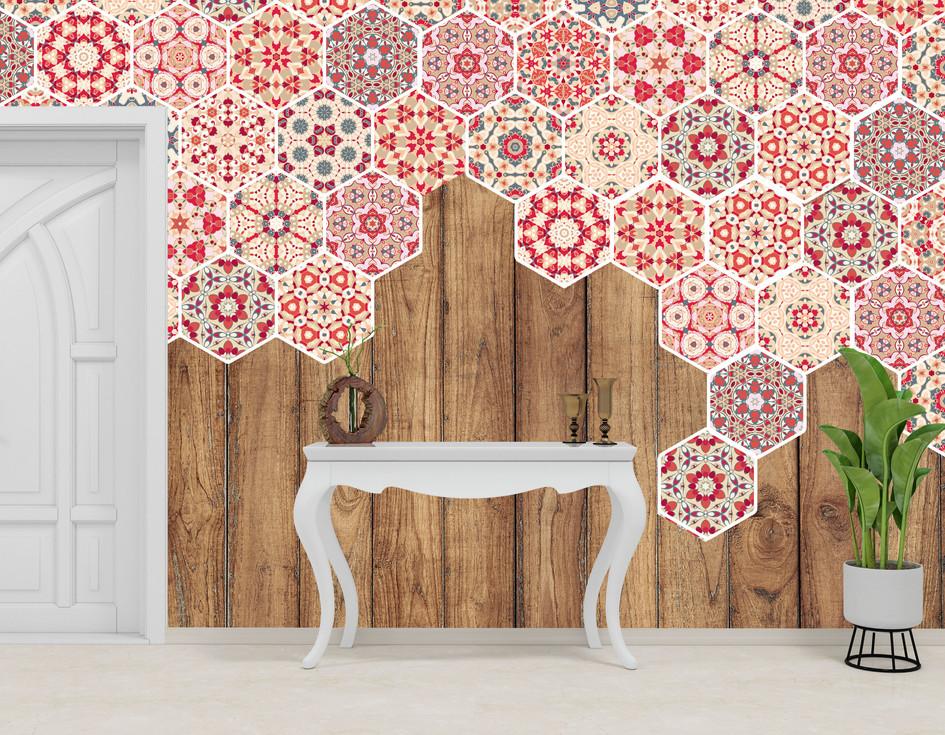 Item #1280 Wood/Hexagona