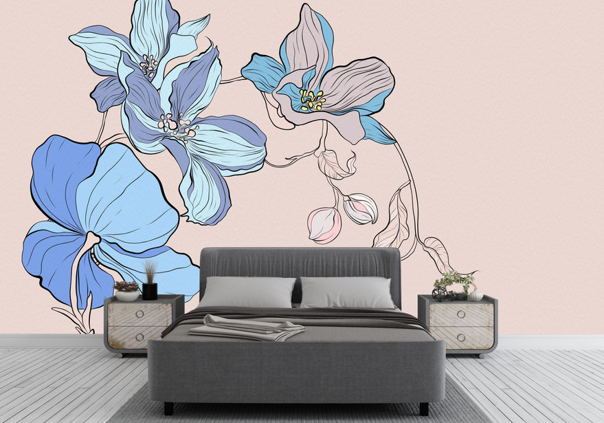 Blue Flowered Wallpaper