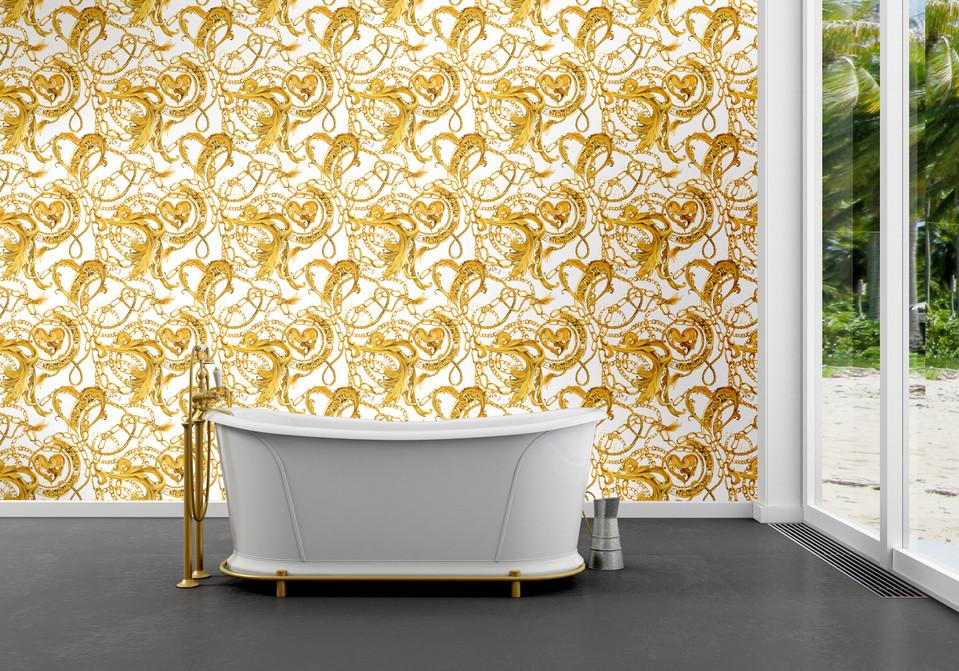 Versace Inspired Gold Wallpaper