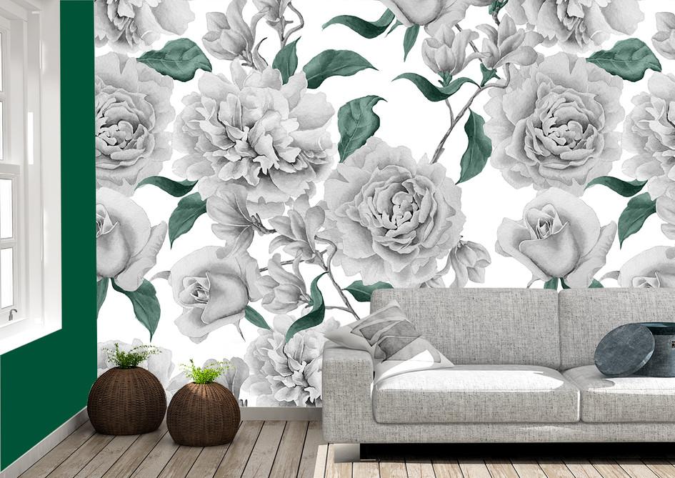 Item #1291 B/W/G Flowers