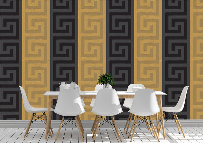 Versace Inspired Paneled Wallpaper