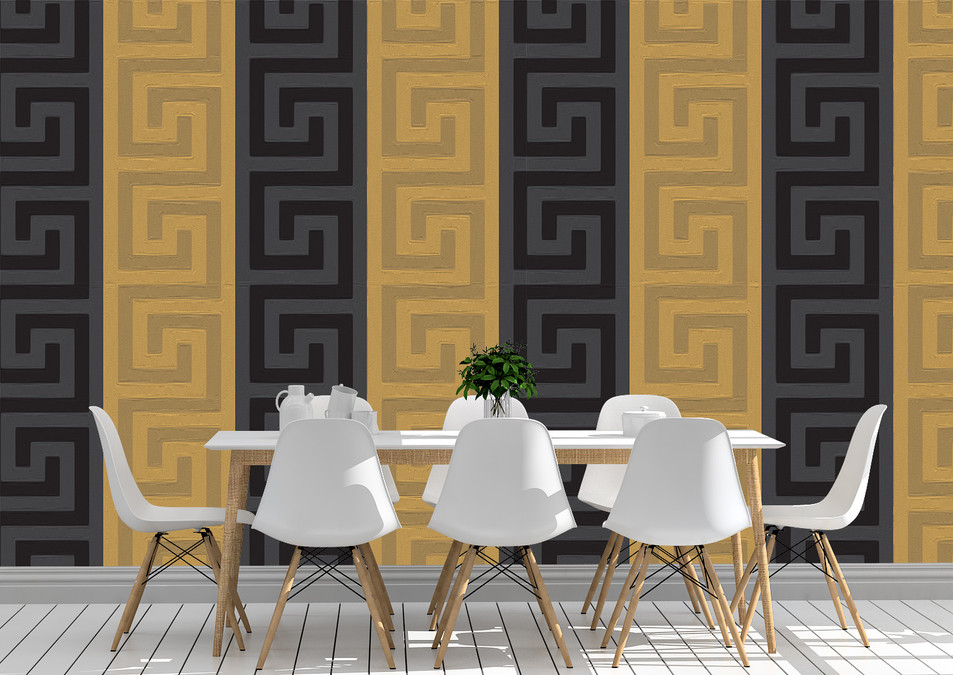 Versace Inspired Paneled Wallpaper