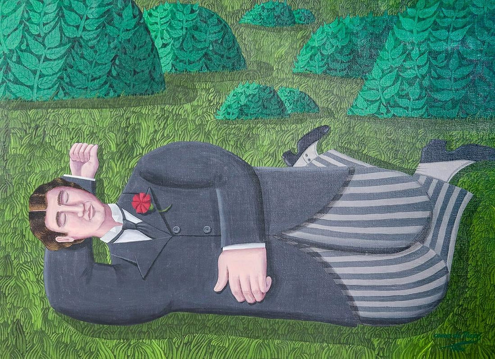 "Oscar DeMejo (Italian-American, 1911-1992) ""The Siesta"" or ""The Dreamer"", depicting a handsome young gentleman sleeping in a park, 1980"