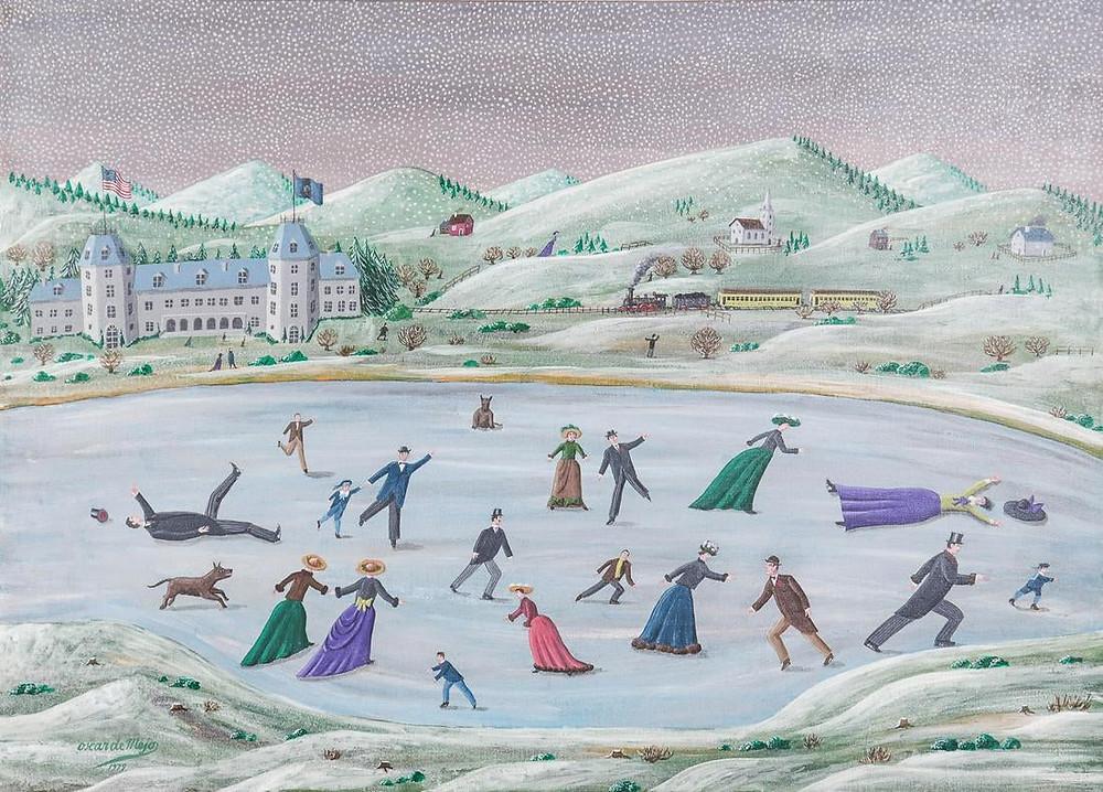 "Oscar DeMejo (Italian-American, 1911-1992) , ""Vermont Skating (1900)"", 1979"