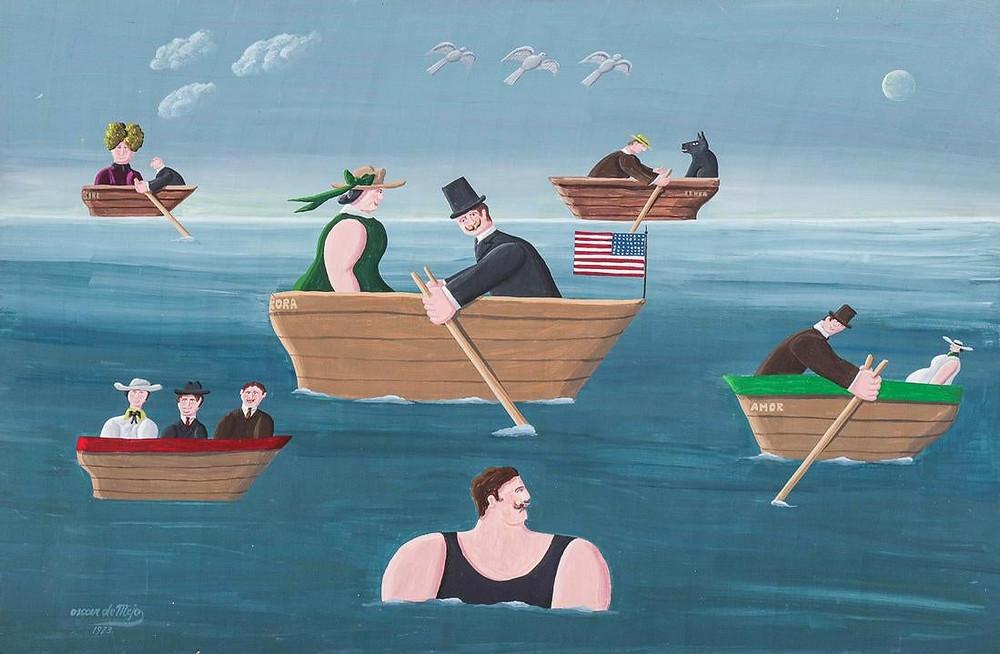 "Oscar DeMejo (Italian-American, 1911-1992) ""Boats and Doves"", 1973"
