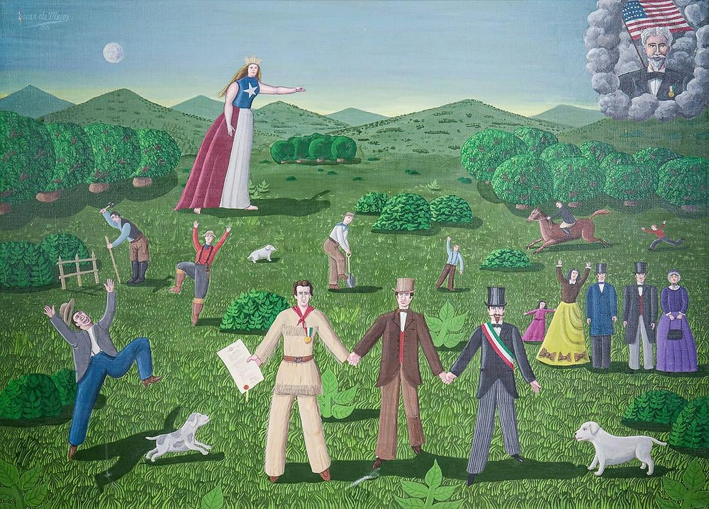 "Oscar DeMejo (Italian-American, 1911-1992) ""American Western Frontier"" 1981, acrylic on canvas, signed upper left, 36"" x 50"""