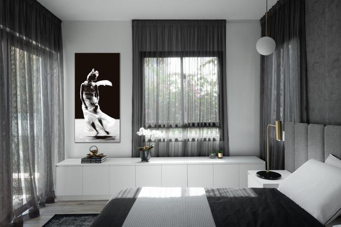 10. חדר שינה עם יצירת אומנות של לי ינור
