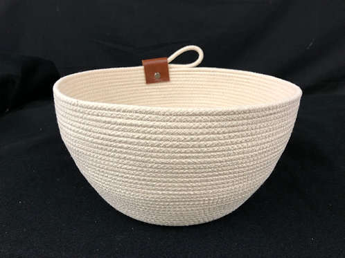 Natural Large Rope Bowl with brown leather accent