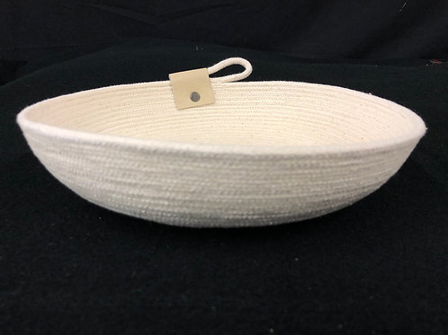 Natural Rope Bowl with Cream Leather Accent