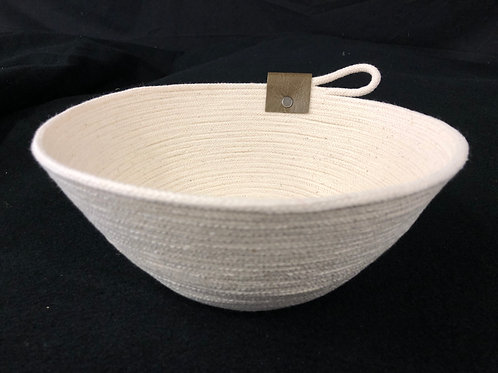 Natural Rope Bowl with army green leather accent
