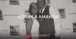"""Cory and Amanda treated their guests as VIP by a """"red-carpet"""" style open-air photo booth s"""