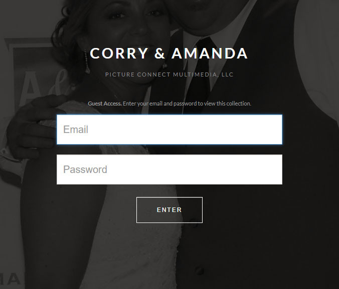 Wedding Photobooth by Picture Connect Multimedia:  Enter e-mail and password