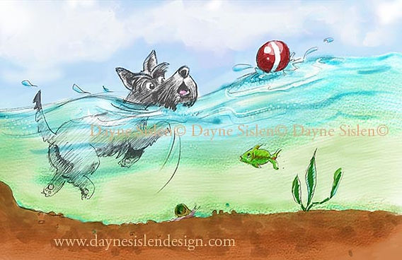 Scottie dog learning to swim by Dayne Sislen