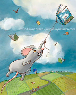 Illustration of mouse soaring through sky