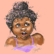 Illustration of cute African American girl