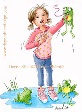 Little girl playing with frogs illustration
