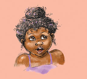 Character sketch for little African American girl by Dayne Sislen