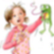 Little girl with frog illustration