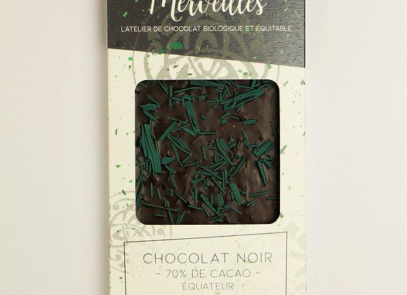 Tablette chocolat noir 70% spiruline