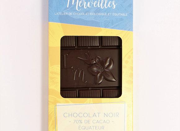 Tablette chocolat noir 70% de cacao origine Equateur