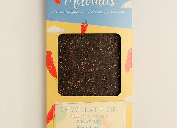 Tablette chocolat noir 70% fleur de sel et Piment Espelette