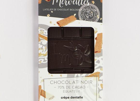 Tablette chocolat noir 70% crêpe dentelle