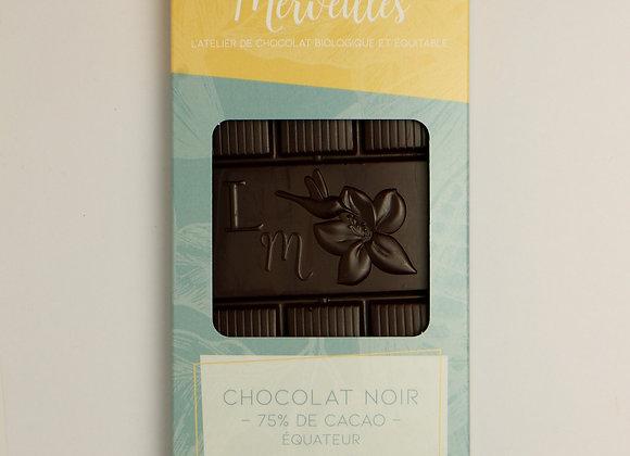 Tablette de Chocolat Noir 75% de cacao origine Equateur